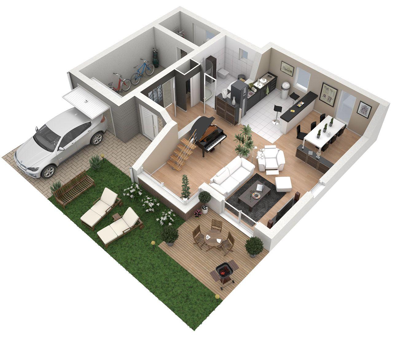 Plan 3D Maison - RDC