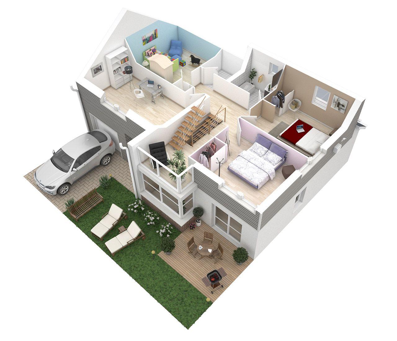 Plan 3D Maison - 1er étage