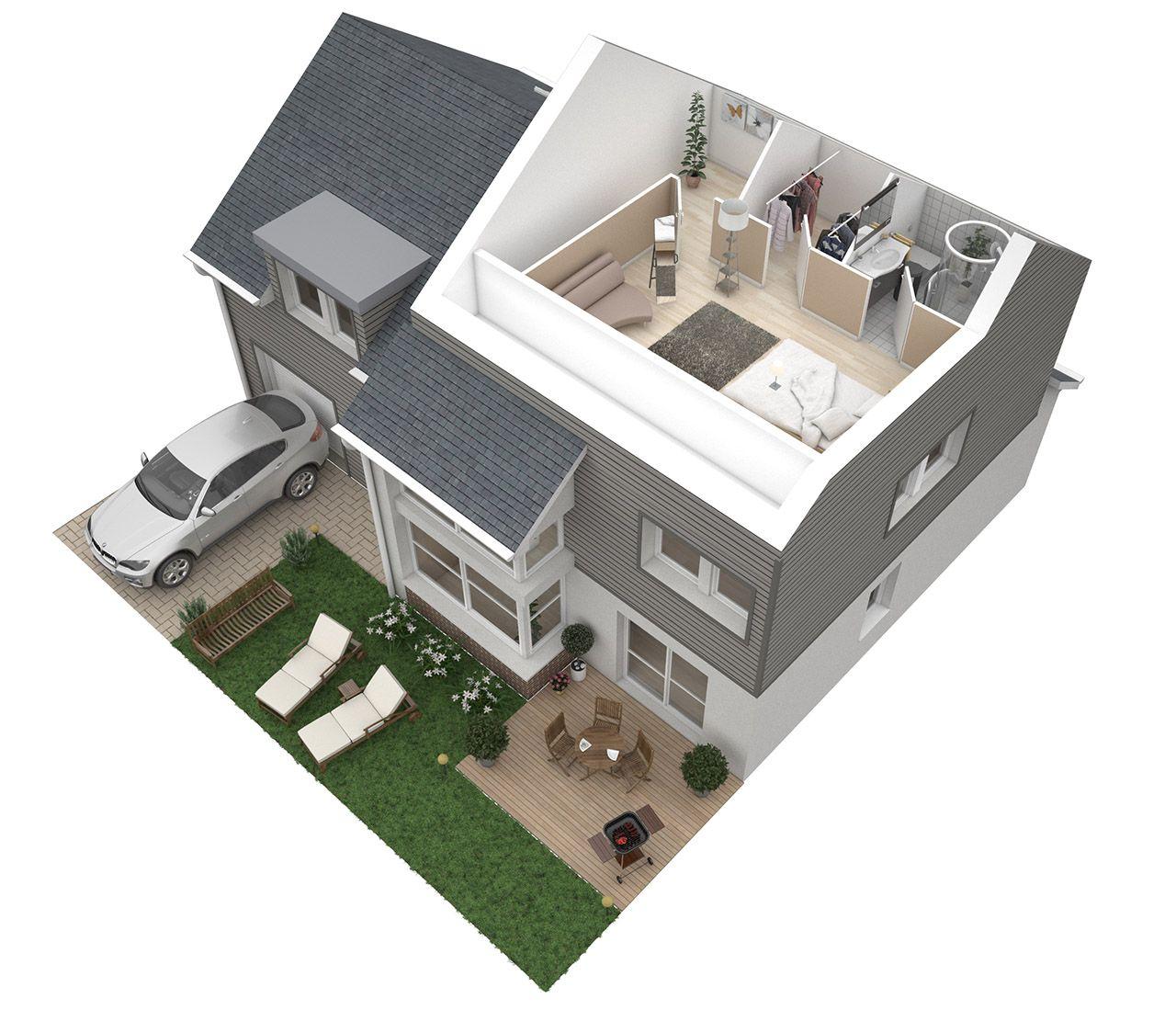 Plan 3D Maison - 2eme étage