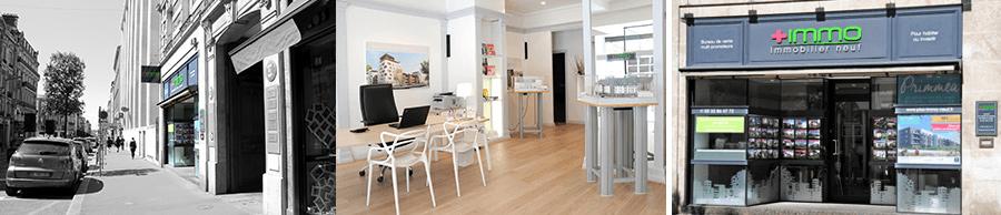 Le bureau de vente Plus Immo situé rue Jeanne d'Arc, au centre de Rouen